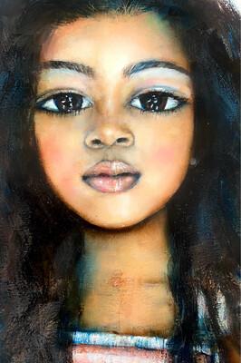 Almond Eyed Girl original oil on paper