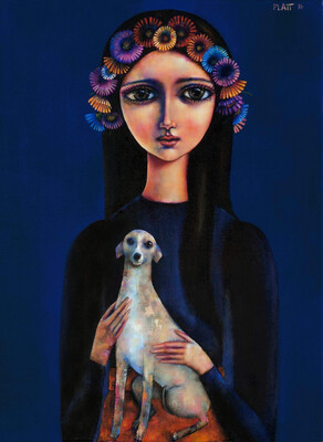 Girl With An Italian Greyhound Limited Edition Print