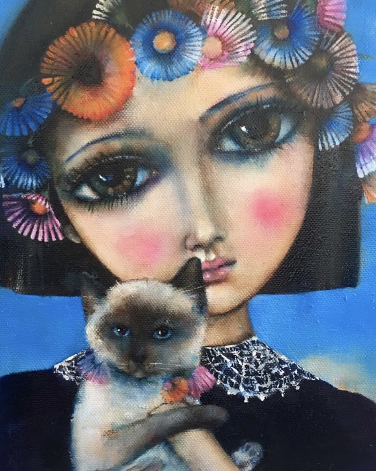 Girl With Siamese Kitten