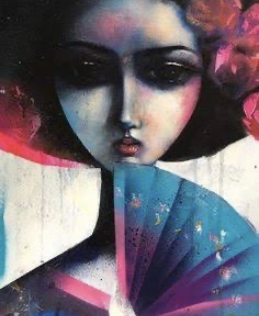 Geisha With A fan Larger Limited Edition Print