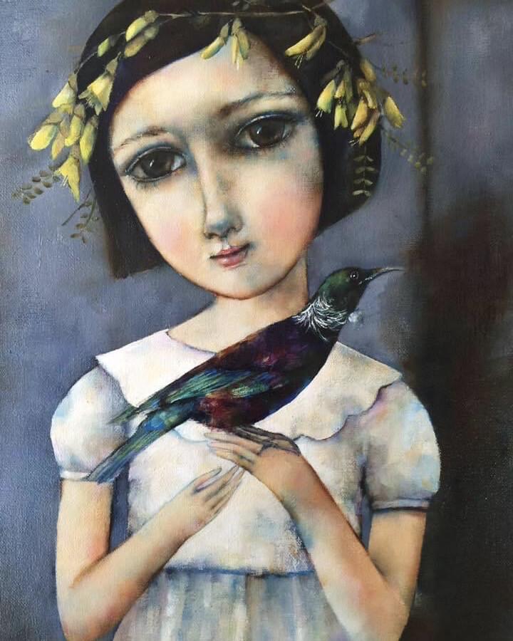 Girl with A Tui Blank Cards