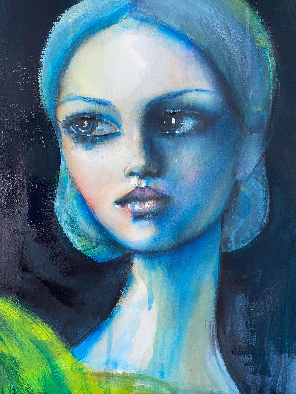 Wistful Blonde Original Watercolour Painting