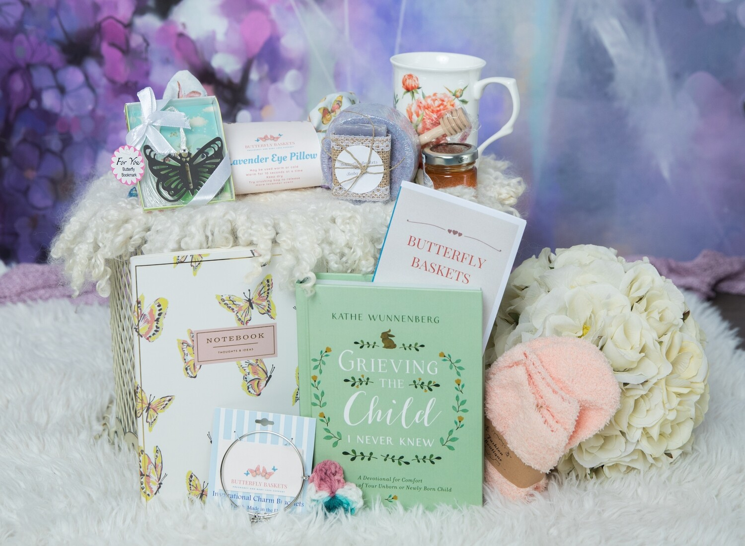 Lavender Butterfly Comfort Box with Book