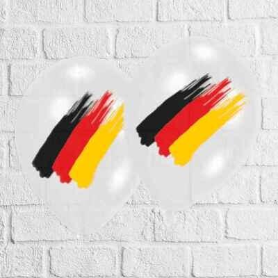 Latexballon, schwarz-rot-gold, 6er-Set