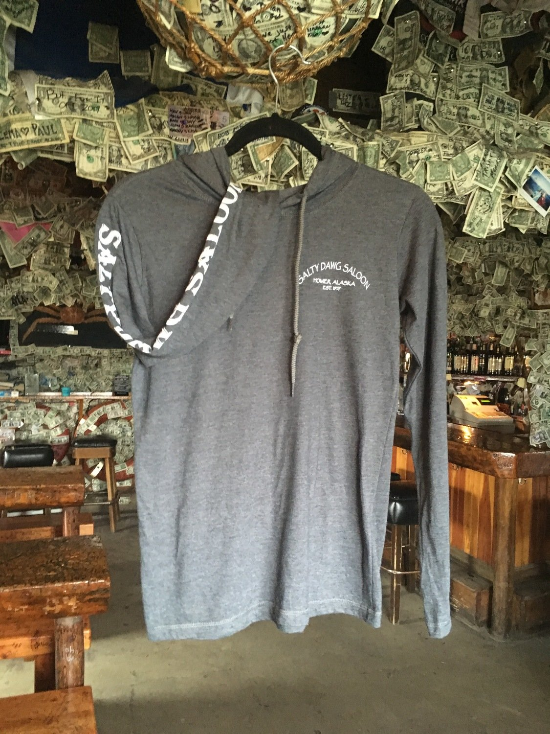 Ladies Charcoal Hooded T