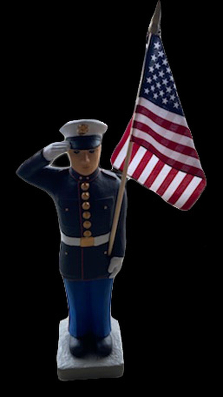 "27"" Marine Statue w/ Flag"