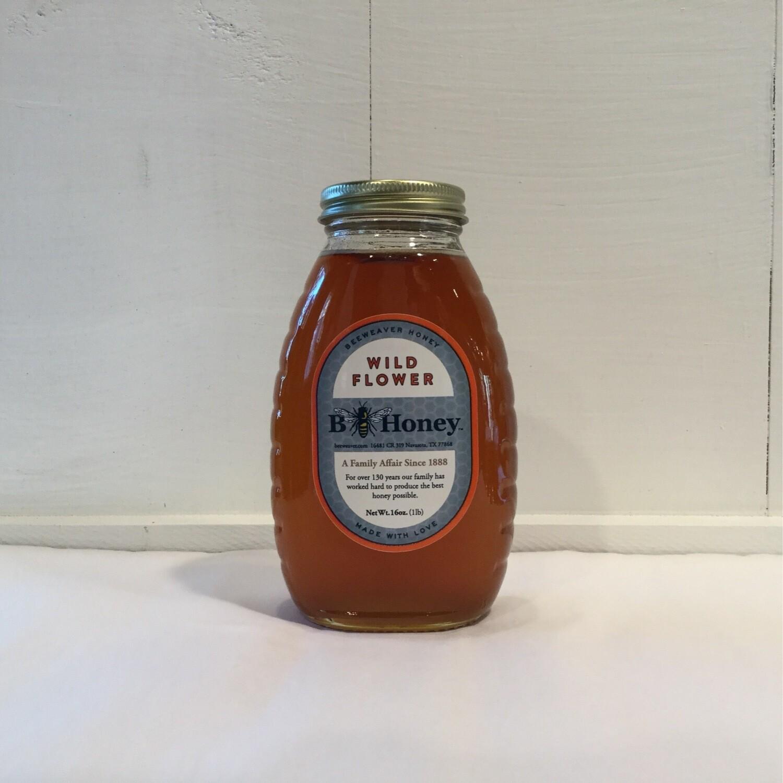 Glass 1 lb - BeeWeaver Chemical Free Wildflower Honey