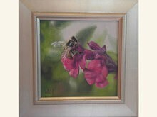 Bee Tenacious 6x6 Oil on Linen by Sonja A Kever