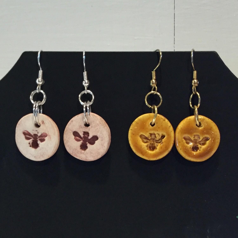 Living Water Pottery Bee Earrings