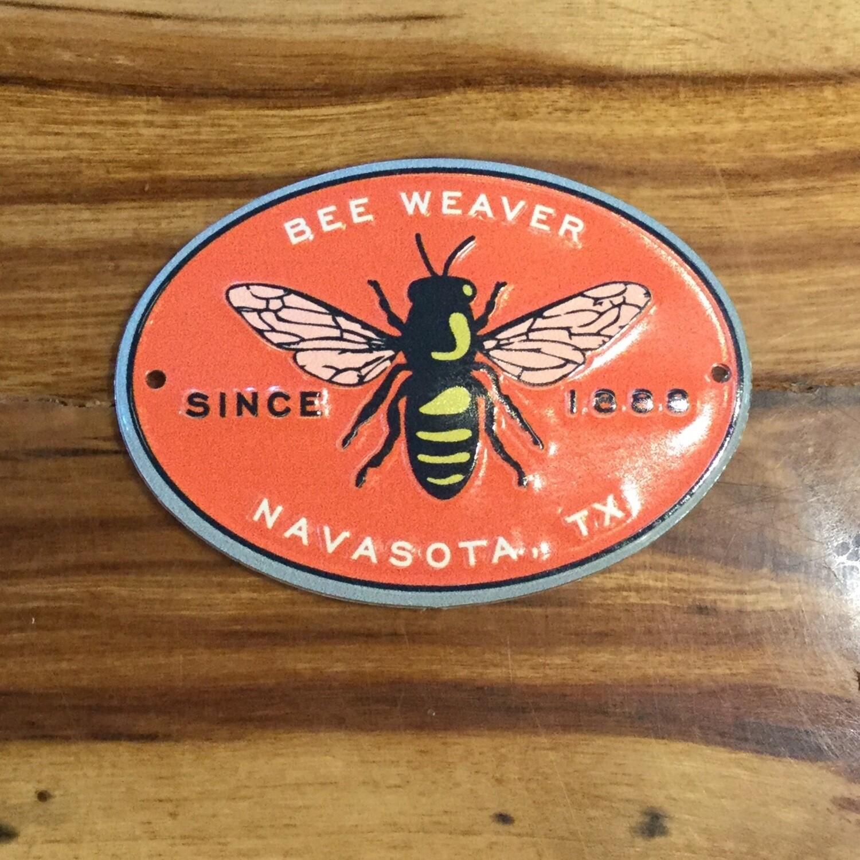 BeeWeaver Orange Metal Hive Label
