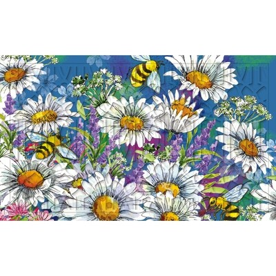 Watercolor Daisies Embossed Floor Mat