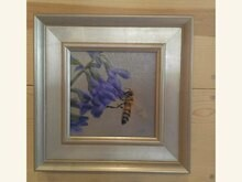 Bee Happy 6x6 Oil on Linen by Sonja A Kever