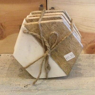 Coasters - Hexagon Marble & Wood