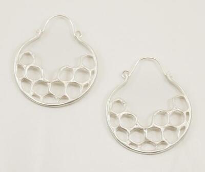 Half Moon Hoop Earring- Sterling Silver