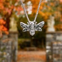 Bee Pendant Necklace - Silver