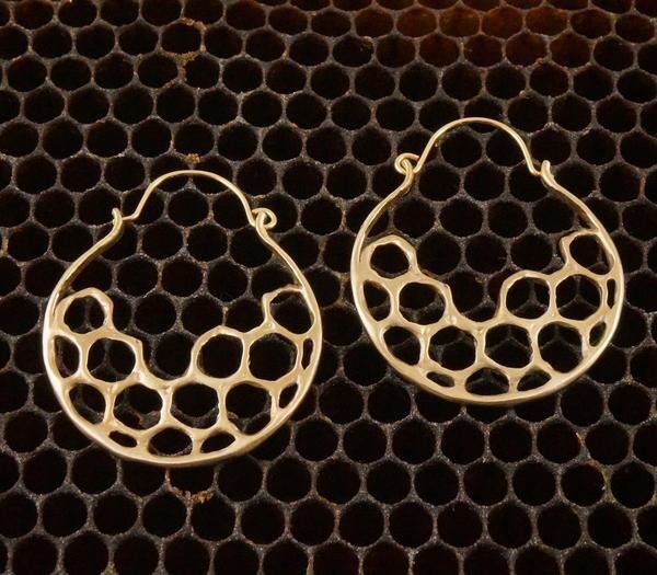 Half Moon Hoop Earring- Cast Bronze