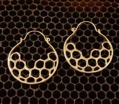 Half Moon Hoop Earring - Cast Bronze