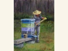 The Bee Keeper 14x11 Oil Painting by Sonja A Kever