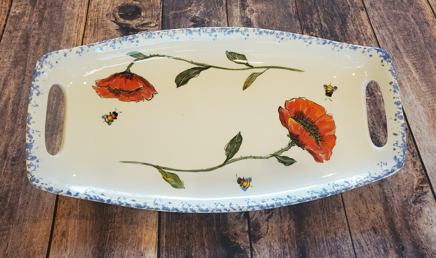 Cottage Pottery Tray w/Handle