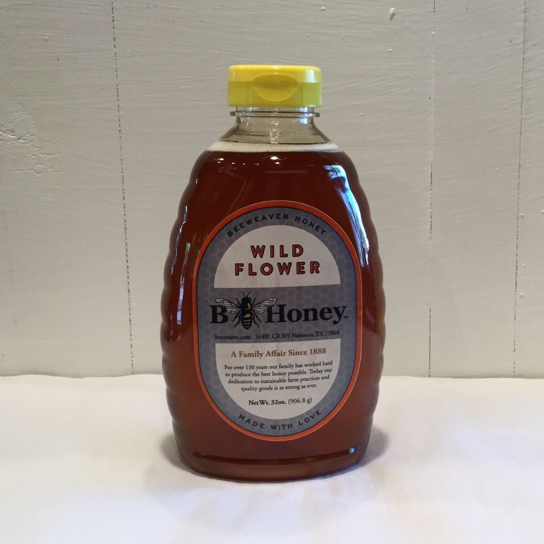 BeeWeaver Chemical Free Wildflower Honey - 2 lb Glass