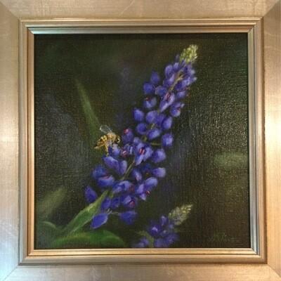 Bee on a Bluebonnet 8x8 Oil on Linen by Sonja A Kever
