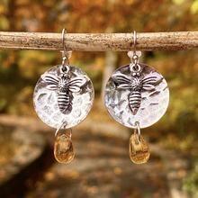 Silver Disc Bee Honey Drop Earrings