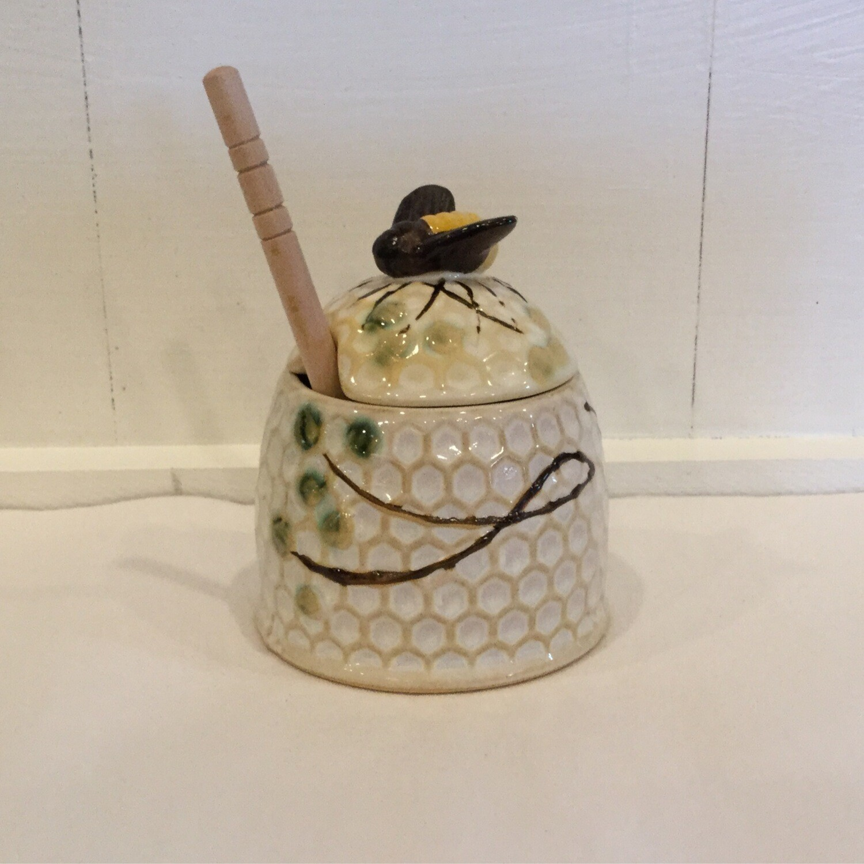 Honeycomb Honey Pot w/Drizzle Stick