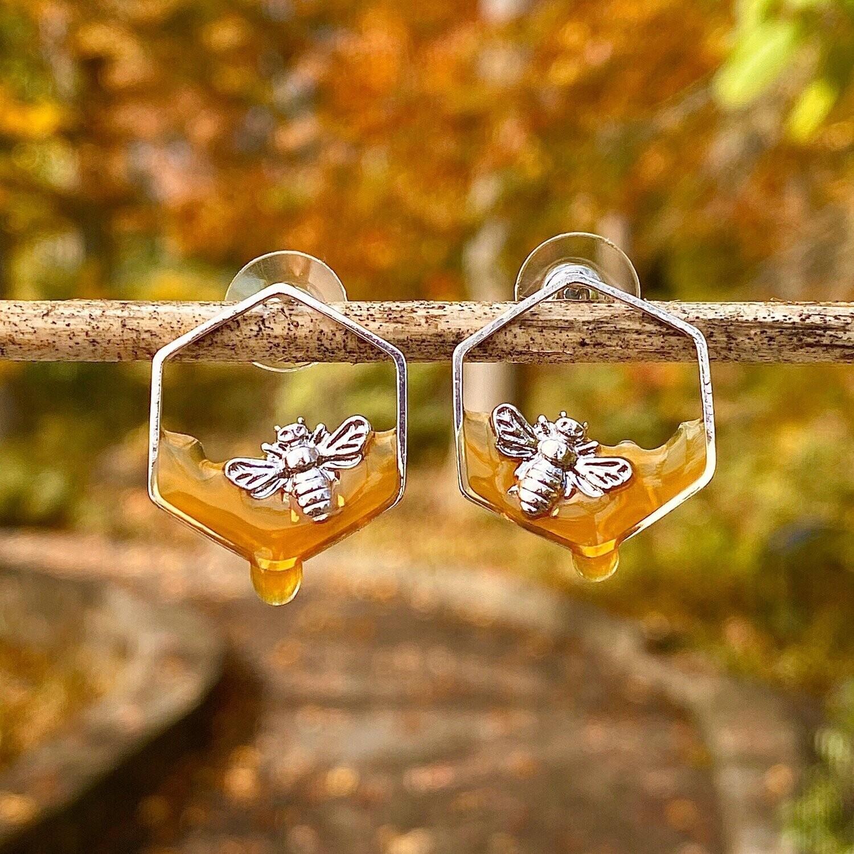 Dripping Honey Silver Bee Earrings