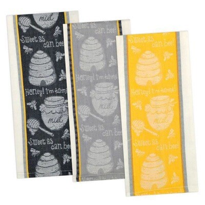Honey Bee Dishtowel - Black, Yellow, Grey
