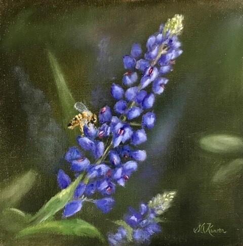 'Bee on a Bluebonnet' 8x8 Oil on Linen by Sonja A Kever