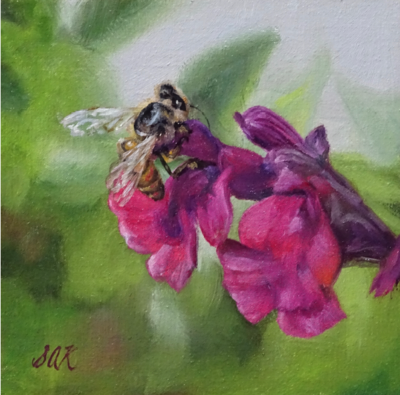 'Bee Tenacious' 6x6 Oil on Linen by Sonja A Kever