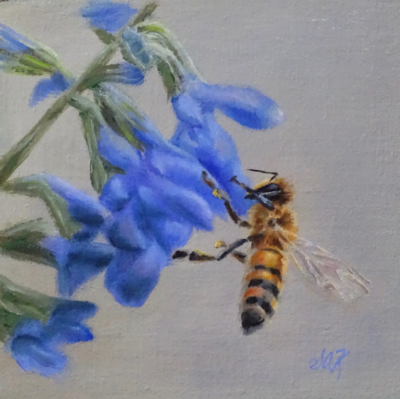 'Bee Happy' 6x6 Oil on Linen by Sonja A Kever