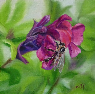 'Bee Strong' 6x6 Oil on Linen by Sonja A Kever
