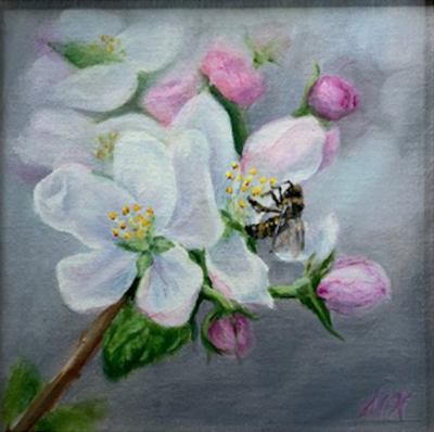'Spring Blooms' 8x8 Oil on Linen by Sonja A Kever
