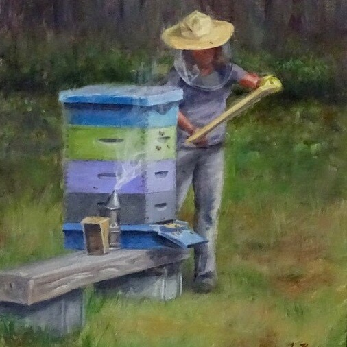 'The Bee Keeper' 14x11 Oil Painting by Sonja A Kever
