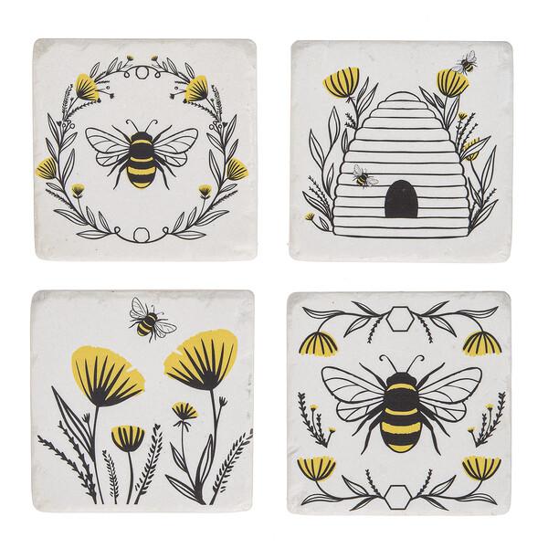 Bee & Floral Coaster Set