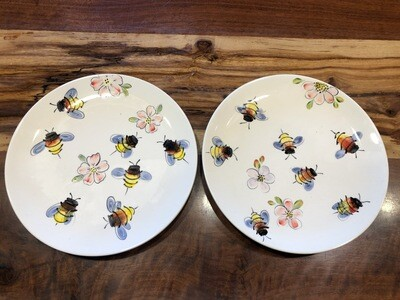 Cottage Pottery Bees & Flowers Plate Set of 2 (In Store Pickup)