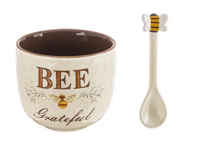 BEE GRATEFUL HONEY POT WITH SPOON (2 PC. SET)