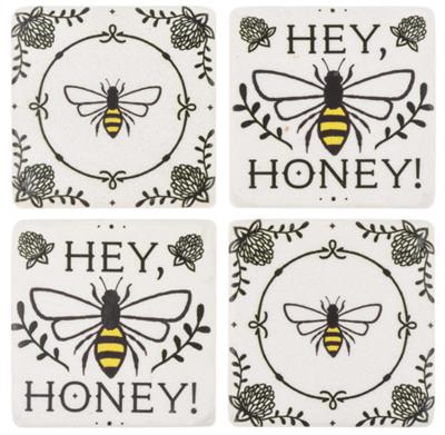 Hey Honey Bee Coaster 4 PC Set
