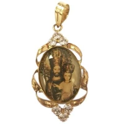 Medalla de Oro con cenefas y cristalitos.