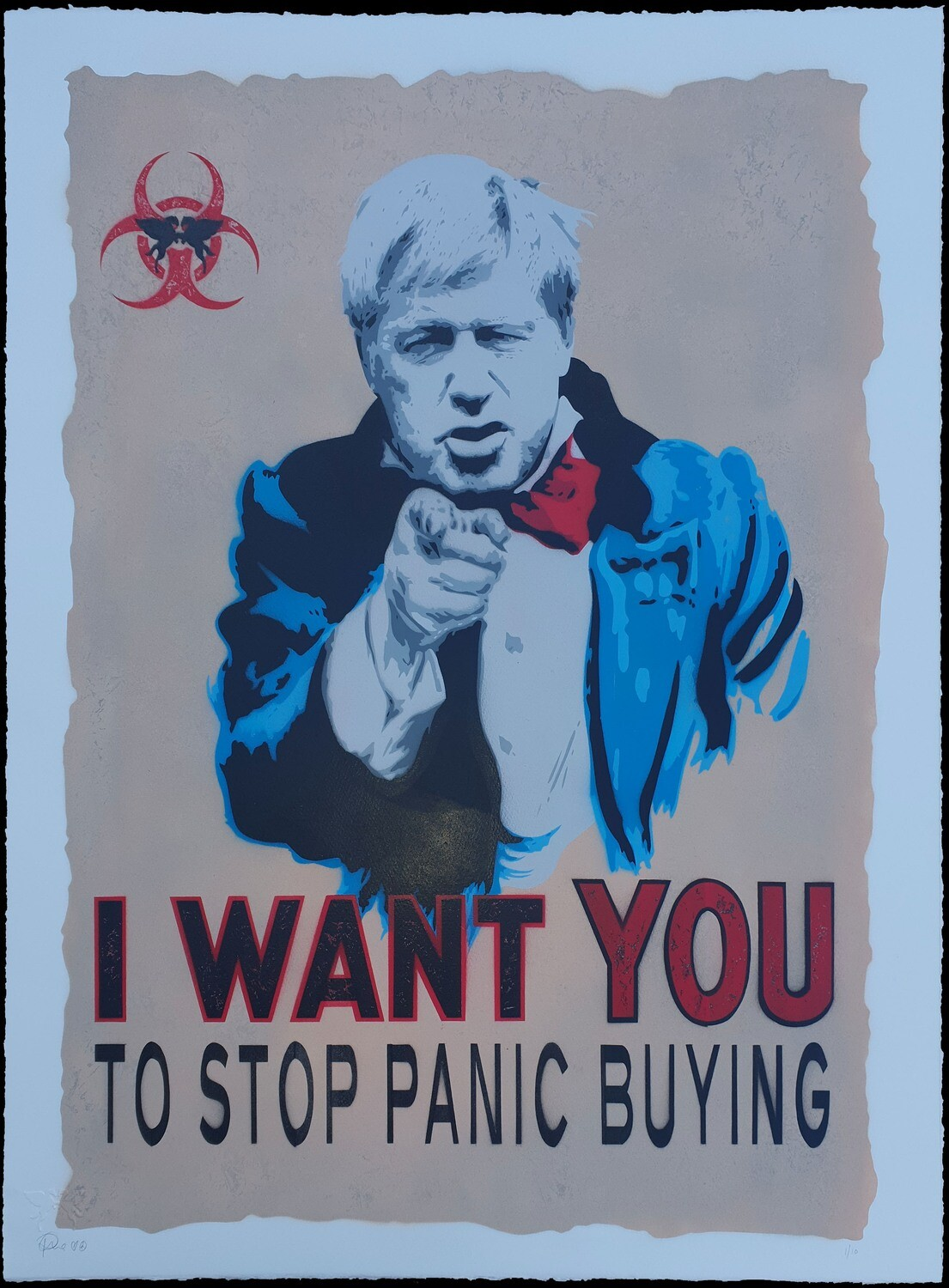 "Boris Johnson ""I WANT YOU"" hand sprayed unframed"