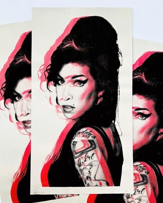 Amy Winehouse Black On Metallic Red
