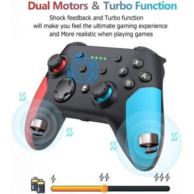 Demand Keys- Wireless Bluetooth Controller Gamepad for Game Console Gamepad for Pc USB Dual Vibration with 6 Axis Handle. Blue and Red