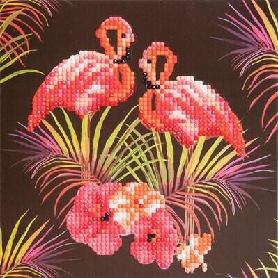 Crystal Art Card Kit Flamingos