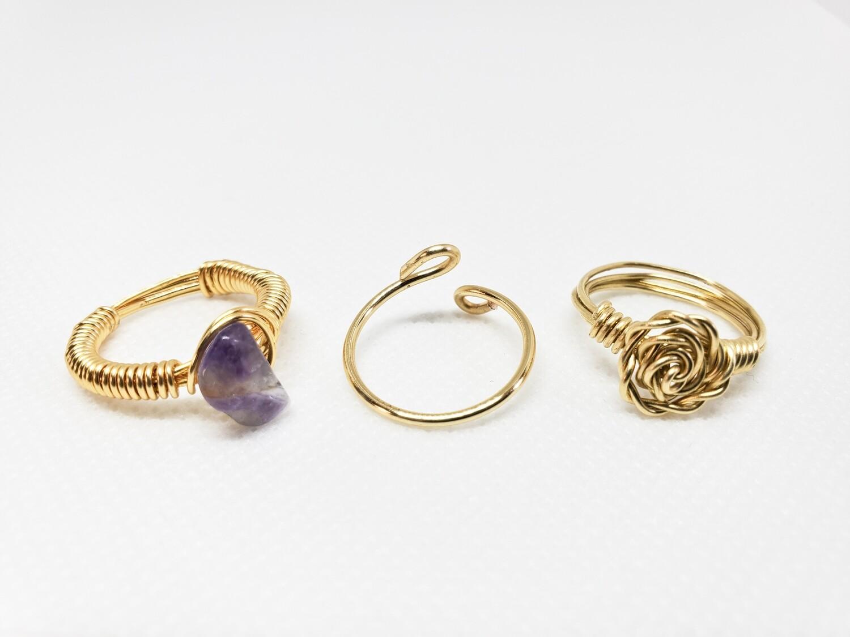 Three Ring Set - Single Stone Ring, Band & Rose Ring