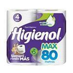 PAPEL HIGIENICO HIGIENOL MAX 4 UNIDADES X 80 METROS