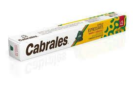 CAPSULAS DE CAFE CABRALES ESPRESSARTE BRASIL X 10 UNIDADES.