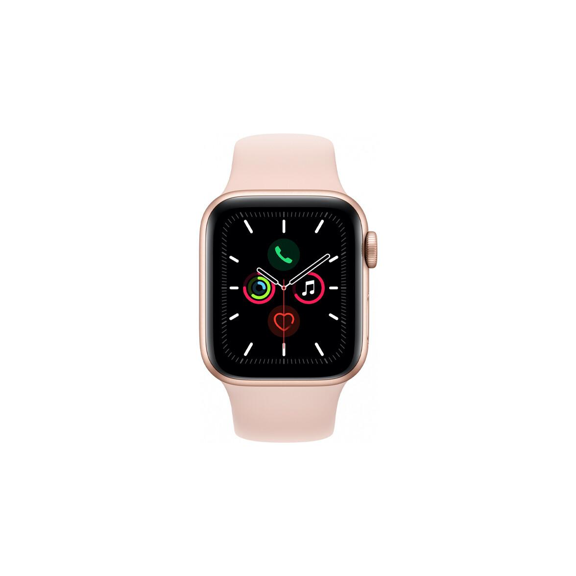 Apple Watch Series 5, 40 мм, корпус из алюминия золотого цвета, спортивный браслет цвета «розовый песок»