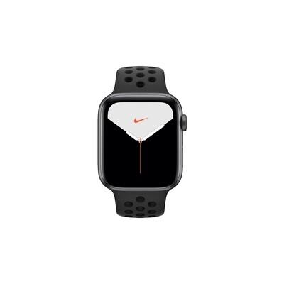 Apple Watch Nike Series 5, 44 мм, корпус из алюминия цвета «серый космос», спортивный ремешок Nike «антрацитовый/чёрный»