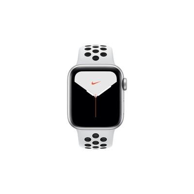 Apple Watch Nike Series 5, 40 мм, корпус из алюминия серебристого цвета, спортивный ремешок Nike «чистая платина/чёрный»